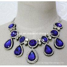 Dame Fashion Royal Blue Waterdrop Glas Kristall Anhänger Halskette (JE0201)