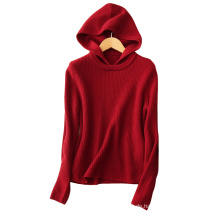 Dongguan Bekleidungshersteller Kaschmir Strickpullover Pullover Frauen Winterkleidung mit Kapuze Pullover