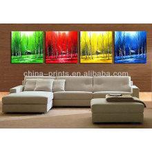 Coloré Le Four Seasons Design Peinture à l'huile peinte à la main