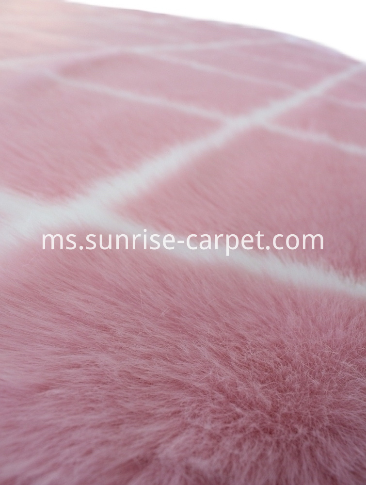 Plush Fur Carpet with Pink color