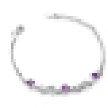 Women′s 925 Sterling Silver Stylish Purple Crystal Bracelet