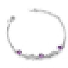 Bracelete de cristal roxo elegante 925 prata esterlina das mulheres