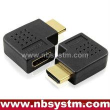 HDMI Um tipo masculino a fêmea ângulo adaptador 90 graus à direita