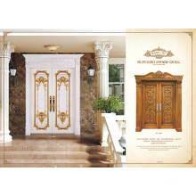 El lujo talla la puerta de madera sólida para la puerta de entrada principal, con el marco de la corona.