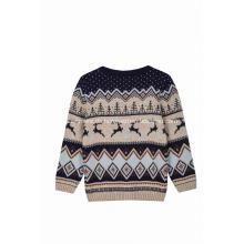 Junge Mädchen hässliche Weihnachten niedlichen Rentier gestrickten Pullover