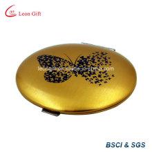 Espelho de maquiagem de alumínio chapeado ouro borboleta
