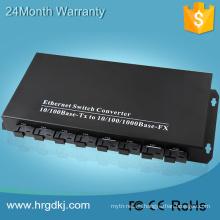 8 puerto de fibra 2 convertidor de catv a ethernet de fibra única RJ-45