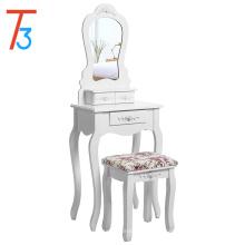 Туалетный столик с табуреткой и зеркалом для макияжа Стол с 3 ящиками