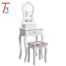 Dressing Table Set with Stool and Mirror Makeup Desk 3 Drawers Vanity Furniture White