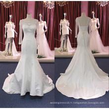 Robe de mariée en satin à manches longues et sirène Wgf184