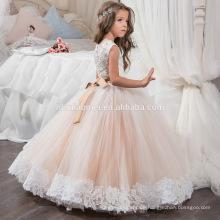 Ärmellose und florale Spitze mit Bowknot Sommerkleid Baby Girl Princess