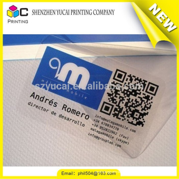 Hot Stamping clear company business cards