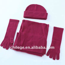 100% wool hat,scarf & glove sets/100% cashmere hat,scarf& glove sets