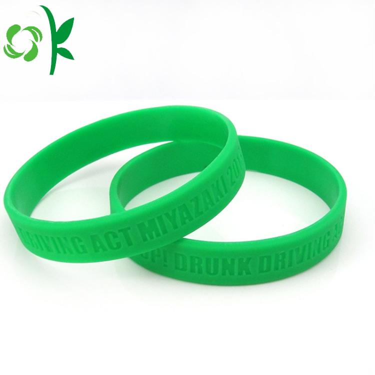 green silicone debossed bracelet