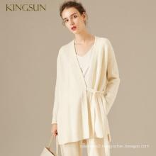 Latest Ladies Loose Knit Cardigan 100 Merino Wool V Collar Sweater