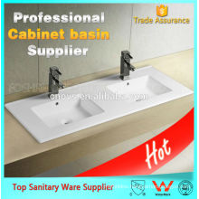ceramic hot sale bathroom sinks with two faucets