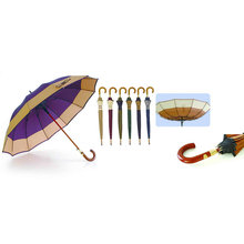 Parapluie de frontière d'arbre en bois de fibre de verre coupe-vent de 12 nervures (YS-SM25123517R)