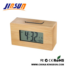 Christmas Gift Natural Bamboo Table Lcd Clock
