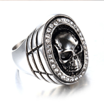Titanium steel non-mainstream diamond jewelry skull ring