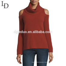 Custom long sleeve pullover knitted soft cold shoulder turtleneck women cashmere sweater
