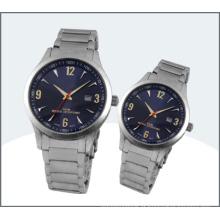 Aço inoxidável amante relógio, relógios de quartzo casal (15170)