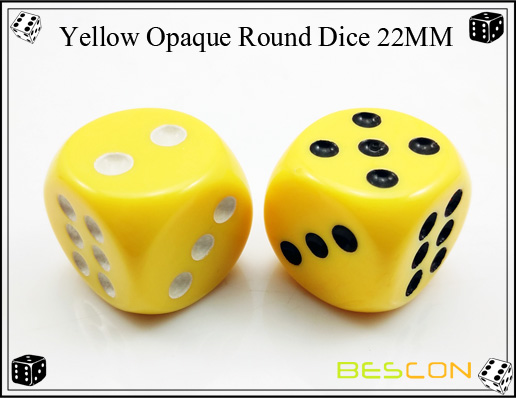 Yellow Opaque Round Dice 22MM