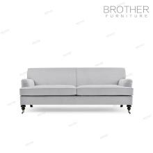Estilo europeu mobiliário de luxo cinza antigo quadro de madeira sólida sala de estar sofá chesterfield com alta de volta