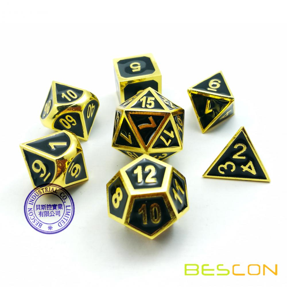 Bescon Super Shiny Deluxe Doré et émail Solid Metal Polyhedral Dice Set de 7 Gold Metallic RPG Role Playing Game Dice D4-D20