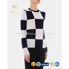 Mulheres Novo Design Tripulação Pescoço Xadrez Cashmere Pullover Sweater