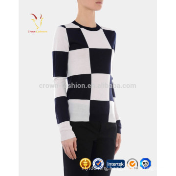 Women New Design Crew Neck Plaid Cashmere Pullover Sweater