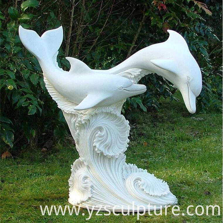 white marble dolphin fountain