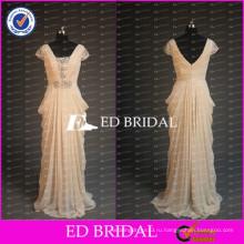 ЭД элегантный вышивка бисером короткий рукав Драпированные шифон длинные шампанское мать невесты платье 2017