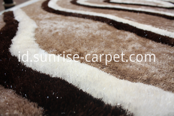 Thin Polyester Shaggy Rug with Design