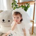 Yarn Pearl Flower Headband Long Veil Luxury Hair Accessories Korean Handmade Princess Birthday Hairband Sweet For Women
