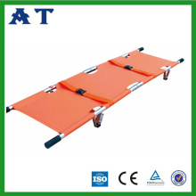 Double fold pole stretcher with wheels