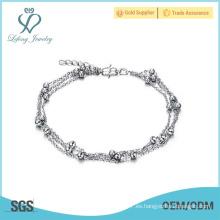 Tobilleras de platino de plata antigua, pulseras de tobillo perlas joyas en línea