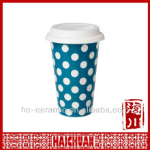11 oz copo de cerâmica de parede dupla, copo de café eco tampa de silicone