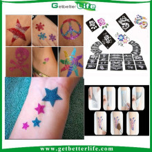 2015 getbetterlife mais novo brilho estênceis atacado/glitter tattoo/tatuagem estêncil do tatuagem