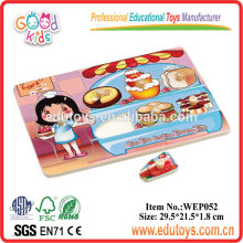 Pastry Cook Girls Pretend Play Wooden Baby Puzzle