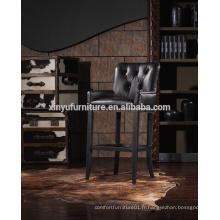 Chaise haute en cuir noir haute qualité A629