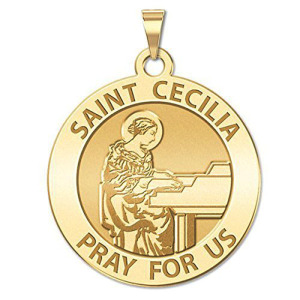 Saint Cecilia Religious Silver Grand Piano Medal