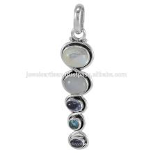 Rainbow Moonstone und Multi Edelstein 925 Sterling Silber Anhänger