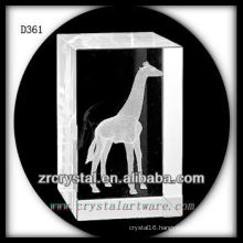 K9 3D Laser Giraffe Inside Crystal Rectangle