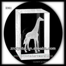Girafa k9 3d laser dentro retângulo de cristal