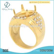 Os projetos os mais atrasados do anel de dedo do aço inoxidável do ouro do cristal, anel de noivado de Indonésia