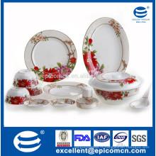 Nouvelle vaisselle en porc avec set de fleurs rouge dcal pour service de table