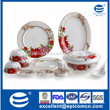 new bone china dinnerware set with red flower dcal for table service