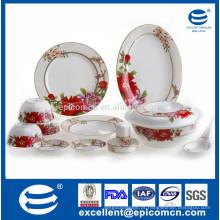 Nova louça de porcelana de osso com flor vermelha dcal para serviço de mesa