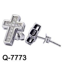925 prata moda jóias cruz studs (q-7773)