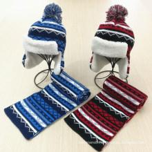 Kids Children Winter Earmuff Warm Scarf Hat Set Knitted Scarf (SK424S)